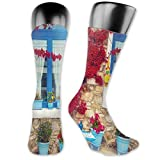 Moruolin Cool Colorful Fancy Novelty Casual Cotton Socks,Italian Decor Mediterranean House With Greek Windows