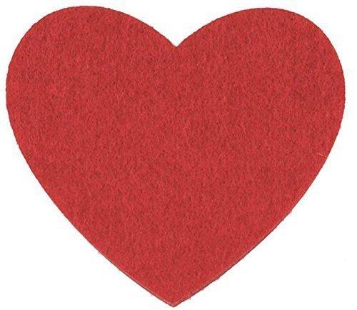 Vilten onderlegger hart rood 10x9x0,5 cm