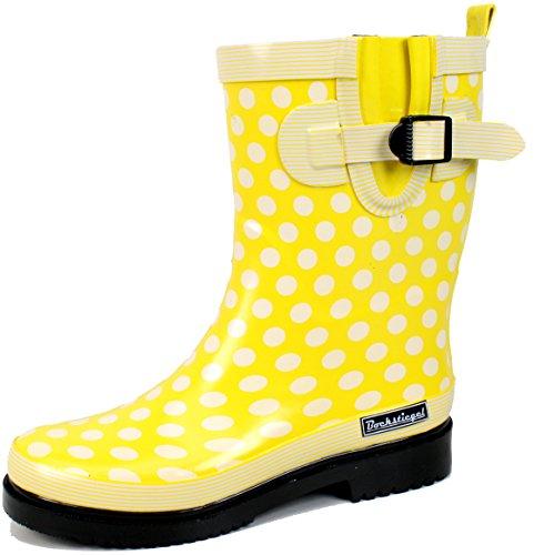 Ultrapower Damen Gummistiefel Modell 8   Regenstiefel   Gartenstiefel   Polka Dots   Wasserdicht, Größe:42 / UK 8, Farbe:Gelb