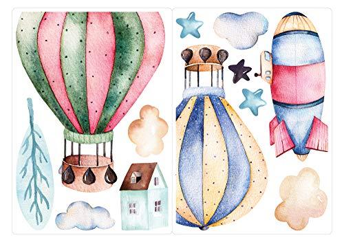 dekodino® Fenstersticker Kinderzimmer Aquarell Heißluftballon und Wolken