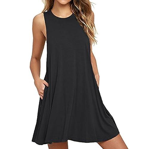 76da174e96 HAOMEILI Women's Sleeveless Long Sleeve Pockets Casual Swing T-Shirt Summer  Dress