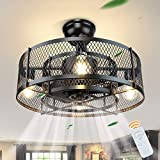 DLLT 20In Caged Ceiling Fan with Light, 3 Speeds Adjustable, Ceiling Fan Lights with Remote, Industrial Ceiling Fans for Living Room, Bedroom, Kitchen, 4xE26 Bulb Base, Black (No Bulb)