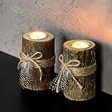levandeo 2er Set Teelichthalter Holz je 12cm hoch Kerzenhalter Federn Kerzenständer Tischdeko - 5