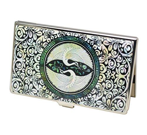 Metall Visitenkartenhalter, Design und Original zubehör mit Perlmutt dekorationnen Schönes Geschenk für Geschäftsmann oder Mitarbeiter