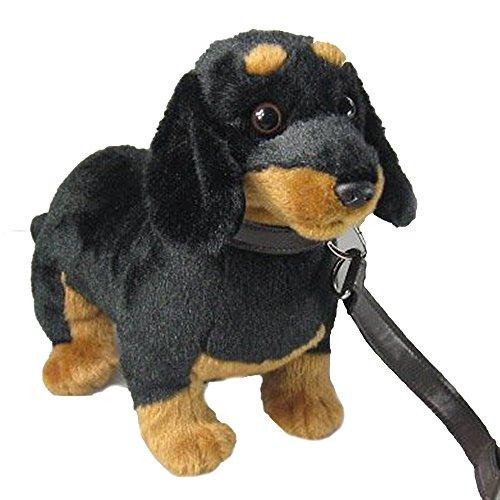 Pamer-Toys Animales de peluche, animales de peluche, perro salchicha con correa, color negro y marrón