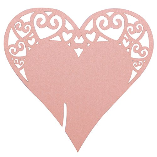 Pack of 100 Table Escort Name Place Cards, DriewWedding Wine Glass Cup Topper Number Card Wedding Party Decoration (Pack of 100, Pink)