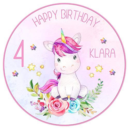 Tortenaufleger Tortenbild Kindergeburtstag Geburtstag Einhorn Blumen Sterne rosa Wunschtext Foto essbar Ø 20cm 2030