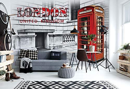 Stadt London Telefonzelle Rot - Wallsticker Warehouse - Fototapete - Tapete - Fotomural - Mural Wandbild - (3131WM) - XL - 208cm x 146cm - VLIES (EasyInstall) - 2 Pieces
