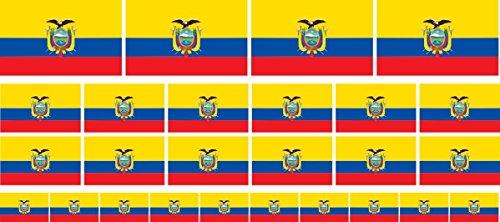 Mini Aufkleber Set - Pack glatt - 4x 51x31mm+ 12x 33x20mm + 10x 20x12mm- Sticker - Fahne - Ecuador - Flagge - Banner - Standarte fürs Auto, Büro, zu Hause & die Schule - Set of 26