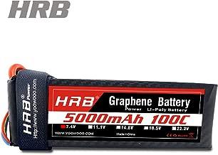 HRB Graphene lipo Battery, 2S lipo Battery 7.4v 5000mah 100C XT90 Plug for RC Car, RC Truck, RC Truggy RC Airplane UAV Drone FPV