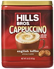 INSTANT CAPPUCCINO – When you're in the mood for a decadent cup of cappuccino, look no further than Hills Bros. instant cappuccino. This canister makes 17 cups – just add water. NUTTY TOFFEE FLAVOR – Our English toffee cappuccino flavor is frothy and...