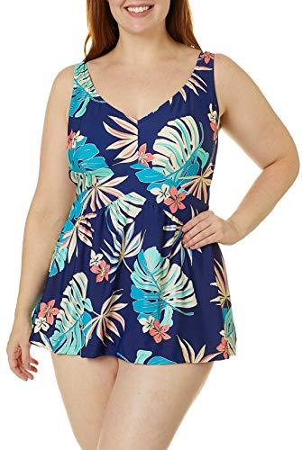 Maxine Of Hollywood Women's Plus-Size V-Neck Swim Dress One Piece Swimsuit, Navy//Hula Leaf, 22