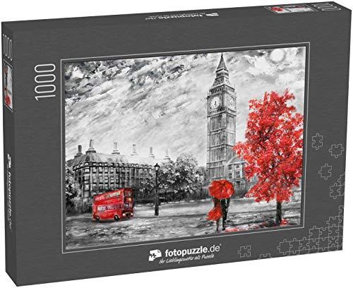 Puzzle 1000 Teile Ölbild auf Leinwand, Straßenansicht von London Kunstwerk Big Ben - Klassische Puzzle, 1000 / 200 / 2000 Teile, edle Motiv-Schachtel, Fotopuzzle-Kollektion 'Kunst'