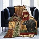 Cyloten Blanket Rustic Lodge Bear Moose Deer Fleece Blanket Foldrable Throw Blanket Couch Sofa Fuzzy Blanket Plush Blanket Beach Blanket for Home Office