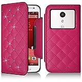 Seluxion-Funda tipo cartera universal M, diseño de diamantes, color rosa con Motorola Moto G () segunda generación