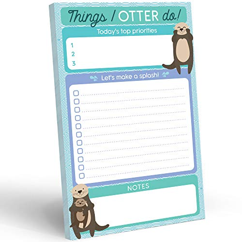 """Daily To Do List Notepad - 50 Sheets 5.5 x 8.5"""" Productivity Task Planner and Habit Tracker Pad - Cute Otter Gift Idea and Office Supplies to Reach Goals and Track Tasks and Appointments"""