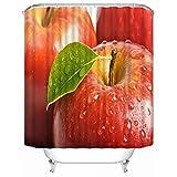 FANYIZHIJIA Benutzerdefinierte Frucht Apfel Duschvorhang Moderne Stoff Badvorhänge Home Decor Gardinen Mehr Größe Custom-Red 180X200Cm 12