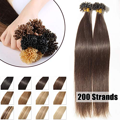 Extension Cheveux Naturel Keratine 200 Mèches - Pose a Chaud 100G - #02 Brun - 40cm