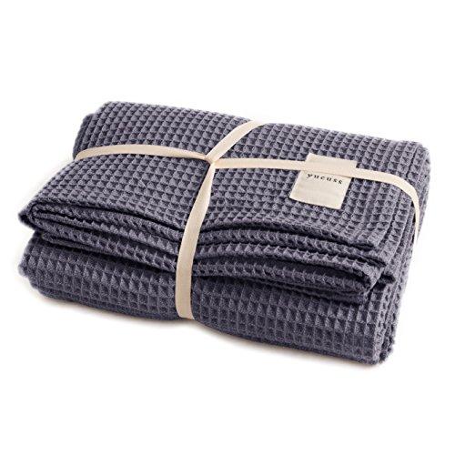 ユクスス(yucuss) マルチカバー ソファーカバー 綿100% ワッフル生地 (双糸使用) さらっと 快適 正方形(キングサイズ 200×200cm) ネイビー 55445107