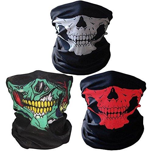 Geila 3 winddicht dehnbar Totenkopf-Maske atmungsaktiv nahtlose Neckwarmer Half Face Cover für Motorrad Reiten Klettern Snowboard Winter Sport outdoor Aktivitäten