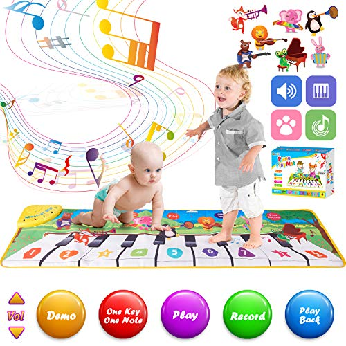 Retruth Musical Piano Mat for Kids & Toddlers, Musical Mat Keyboard Dancing Mat with 8 Instrument Modes, Touch Play Mat Early Education Music Toys Gift for Girls Boys Age 1-3 (Animal Park Style)