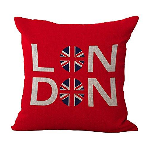 WEIANG - Federa per cuscino in cotone e lino, stile britannico, per letto e divano Londra (04)