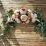 Plantas artificiales falsas, guirnalda de flores artificiales, guirnalda de umbral de puerta, decoraciones de boda, centros de mesa florales para el hogar, cocina, jardín, fiesta, decoración de bricol