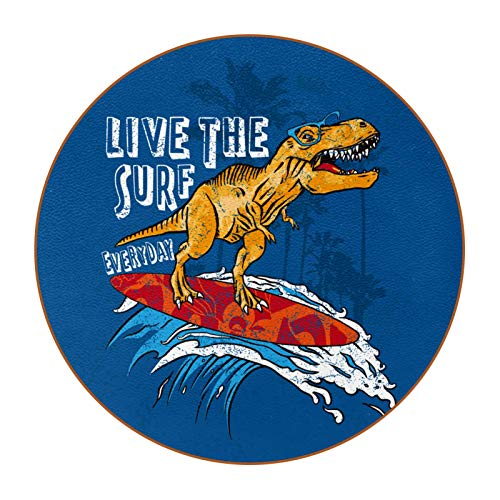 Juego de 6 posavasos de diseño único para posavasos de mesa con parte trasera antideslizante posavasos de regalo, juegos de dinosaurios surf