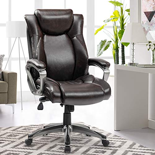 WE REFICCER Office Chair Black Leather - Memory Foam Adjustable Lumbar...