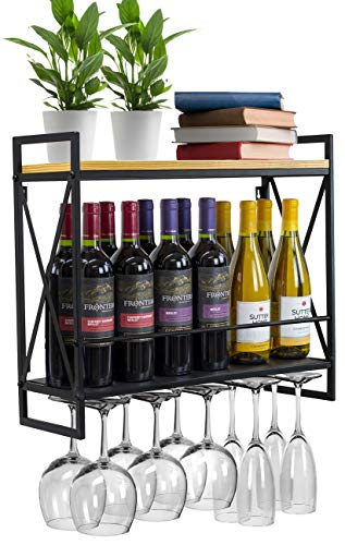 Sorbus Wine Bottle Stemware Glass Rack, Industrial 2-Tier Wood Shelf, Wall Mounted Wine Racks with 5 Stem Glass Holders for Wine Glasses, Flutes, Mugs, Home Décor, Metal