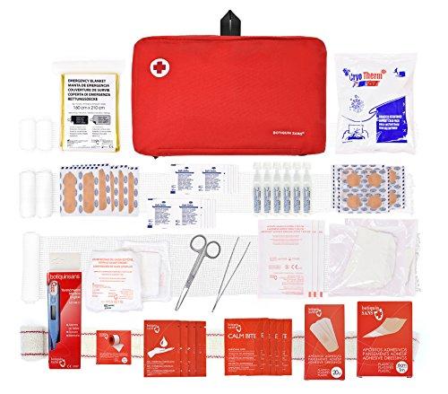 Botiquín Sans Super Erste-Hilfe-Set mit 120 Artikel Digitalthermometer, Rot