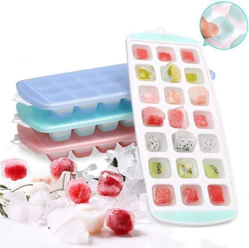 Sinwind Eiswürfelform, 3 Stück Pack eiswürfelform mit Deckel Ice Tray, 21 Fach Eiswürfelform, BPA-frei, und stapelbar Langlebig, Eiswürfelformen Eiswürfel für Family, Party und Bars (3 Farben)