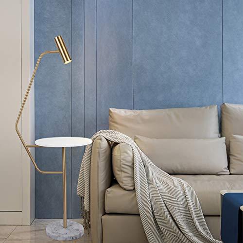 WYHYQY Lámpara de Suelo Moderno Minimalista LED lámpara de pie para Salas de Estar - Alto Poste de luz para el Dormitorio y Oficina - con Bombilla LED - latón Antiguo, Mesa de Centro de mármol