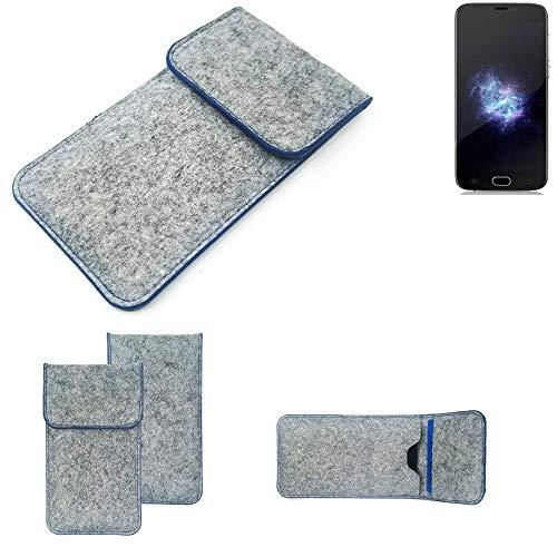 K-S-Trade Filz Schutz Hülle Für Doogee X9 Pro Schutzhülle Filztasche Pouch Tasche Hülle Sleeve Handyhülle Filzhülle Hellgrau, Blauer Rand