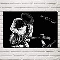 キャンバス絵画壁アートポスタースティーヴィーレイヴォーン音楽ギターミュージシャンブルースロックモノクロリビングルームホームアート装飾-50×75センチフレームなし