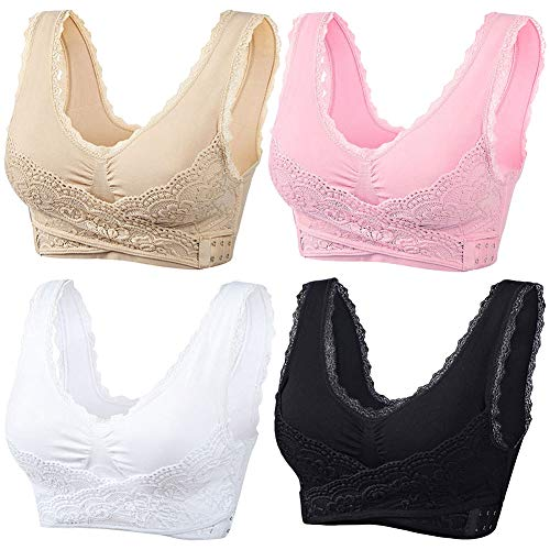 sekesin Women's Seamless Sports Lace Front Closure Bra Wireless Yoga Running Bras(4 Pack: White+Pink+Beige+Black,XL)