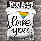 HARXISE Microfibra Juego de Cama Efectos 3 Piezas,I Love You Letters Efecto Poligonal Rainbow Valentine 's Gay Parejas Imprimir,1(140x200cm)+2(50x80cm)