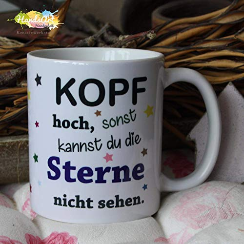 Kaffeebecher ~ Tasse -Kopf hoch sonst kannst du die Sterne nicht sehen ~ Mut ~ Weihnachten Geschenk