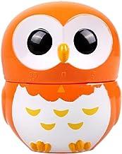 F Fityle Kitchen Timer Owl Shaped, 1-60 Minute Timers, Manual Timer Mechanical Timer for Kitchen,Yoga,Meditation,Study - Orange