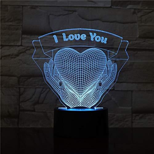 3D LED Lamp I Love You Heart Hands bedside color change Lampara RGB Boy Child Kids Birthday USB 3D LED Night Light