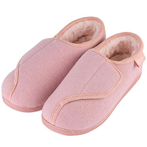 LongBay Women s Furry Memory Foam Diabetic Slippers Comfy Cozy Arthritis Edema House Shoes (8 B(M), Pink)