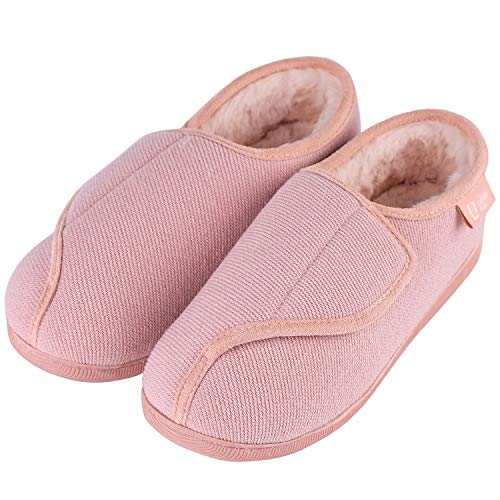 LongBay Women's Furry Memory Foam Diabetic Slippers Comfy Cozy Arthritis Edema House Shoes (10 B(M), Pink)