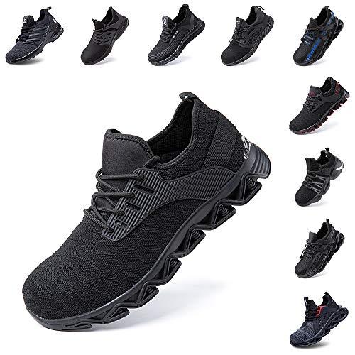 Zapatos de Seguridad Hombre Mujer con Punta de Acero Zapatillas de Trabajo Deportivo Calzado Ligeros Comodo Transpirables Unisex Negro Talla 38 EU