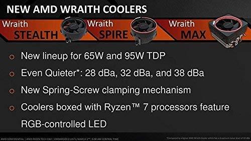 AMD Wraith Stealth Socket AM4 - Raffreddatore CPU a 4 pin con dissipatore di calore in alluminio e ventola da 3,93 pollici