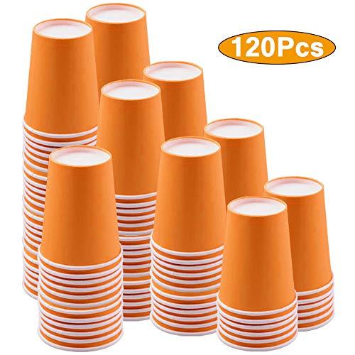 JINLE 120 Stück Orange Pappbecher Einweg Partybecher Biologisch Abbaubar Trinkbecher für Hochzeit, Kinder DIY, Partybedarf, Kaffee, Tee, Heißen und Kalten Getränken - 250ml