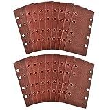 WHLEHL Schleifpapier Klett 1/3 Blatt Schleifschleifer Schleifpapier Pads 20er Pack Mixed Grit 40 120, rotbraun