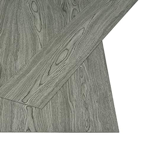 vidaXL PVC Laminat Dielen Selbstklebend Rutschfest Vinylboden Vinyl Boden Bodenbelag Fußboden Designboden Dielenboden Landhausdiele 4,46m² 3mm Grau