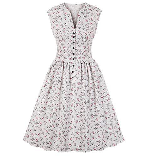 Ylovego Vestidos de Verano Vintage Vestido de Impresión Floral V-Cuello sin Mangas Pin Up Vestidos Botón Volar Fiesta Rockabilly Retro Vestido