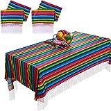 2 Piezas Caminos Mexicanos de Mesa Mantel Cubierta de Mesa a Rayas de Colores Manta de Sarape para Cinco de Mayo DIY Decoración de Fiesta Mexicana Boda, 79 x 55 Pulgadas