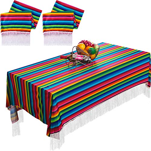 2 Pieces Mexican Table Runner Mexican Tablecloth Table Cover Serape Blanket for Mexican Fiesta Party Wedding Decorations, 79 x 55 Inch